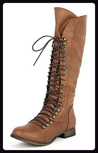 fourever Funky Damen Synthetik Vegan Leder Zehenkappe Schnürschuh Kniehohe Stiefel, Beige - Hellbraun - Größe: 37,5 EU (M) - Stiefel für frauen (*Partner-Link)