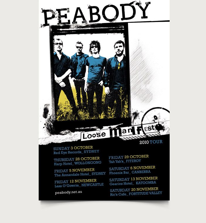 Peabody / Loose Manifesto Album Tour Poster : A2 / A3 & A5 Press Ads - CMYK