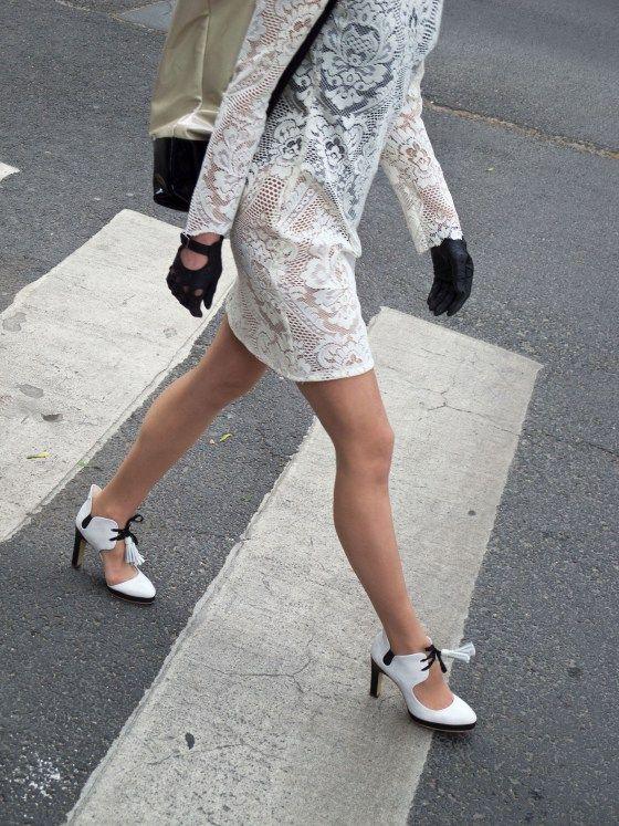 street walk and tasseled high heels