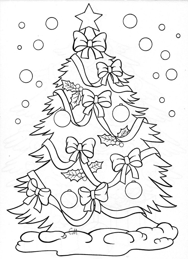 kleurplaat christmas tree coloring page