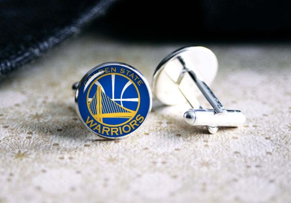 Golden state warriors basketball team cufflinks. Gift idea for men, Fathers day, Christmas, prom, wedding cuff links.