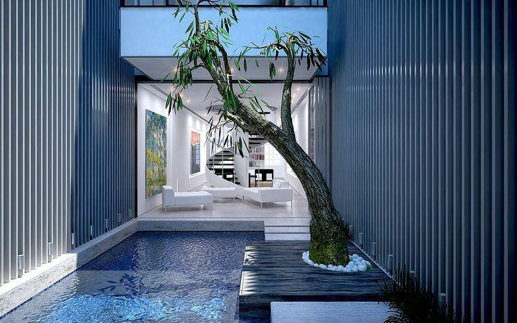 Espejo de agua en jard n interior remate escalera de for Espejos para jardin