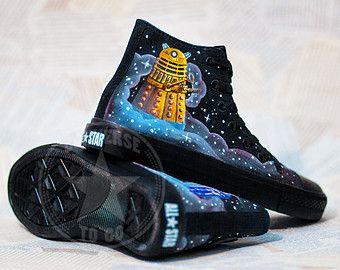 Blue Who Doctor Box Dalek Tardis Shoes Converse Custom qxvZ8