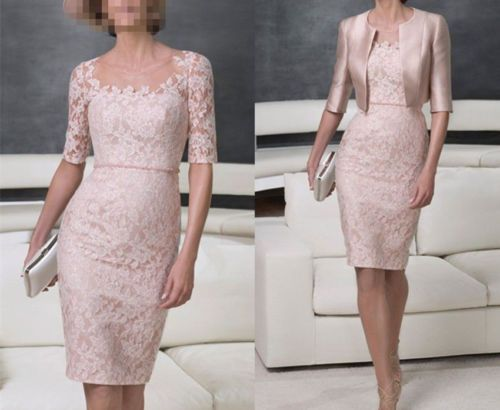 New-Short-Lace-Mother-of-the-Bride-Dress-Prom-Evening-Formal-Dress-Free-Jacket