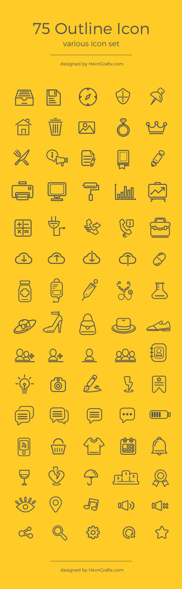 75 Various Outline Icon Set