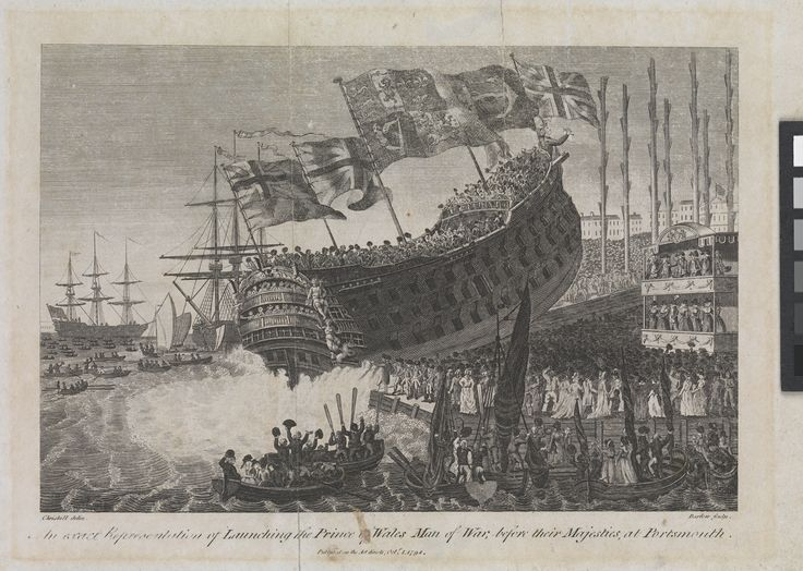 An exact Representation of Launching the Prince of Wales Man of War, before their Majesties, at Portsmouth - National Maritime Museum