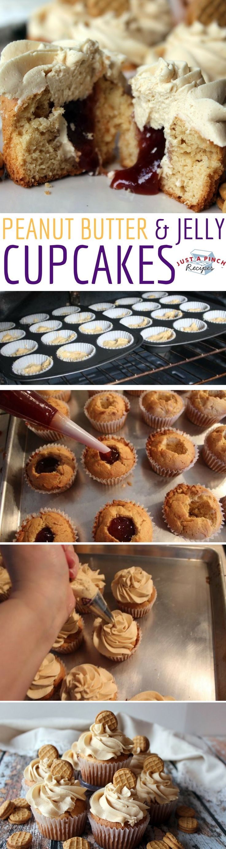 If you and your family are peanut butter & jelly fans, you will love these peanut butter and jelly cupcakes!!!