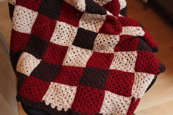 small plaid knitted crochet by nicolbreizh on Etsy