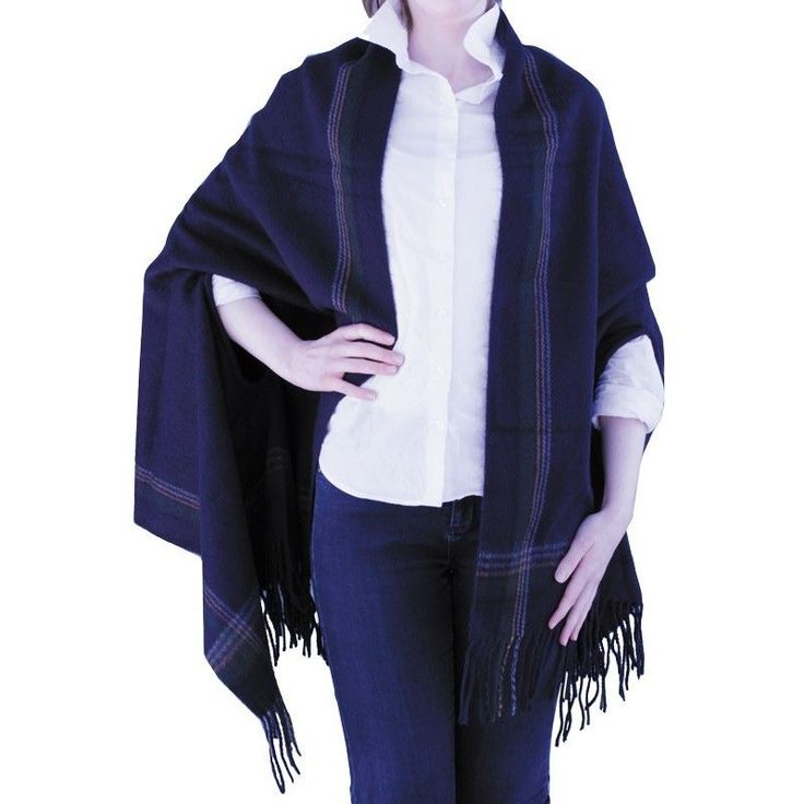 Soft Oversized Knit Plaid Cape with Arm Openings & Frilled Edges  NWT NEW #Simi #Cape #Everyday