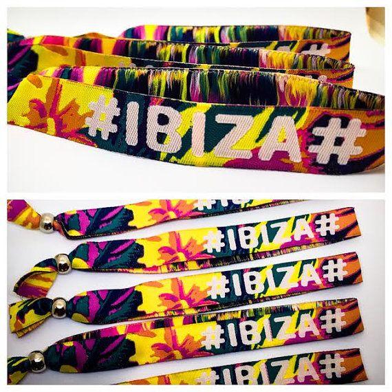 Festival Fabric Wristbands 'IBIZA BEACH PLEASE' by PartyChicShop