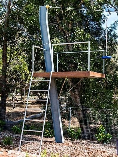 Flying fox designed as part of an adventure playground on a semi-rural property with children. Designed by Garden Insight