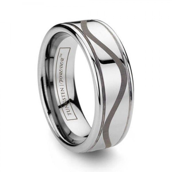 Unique Engraved Tungsten Wedding Bands
