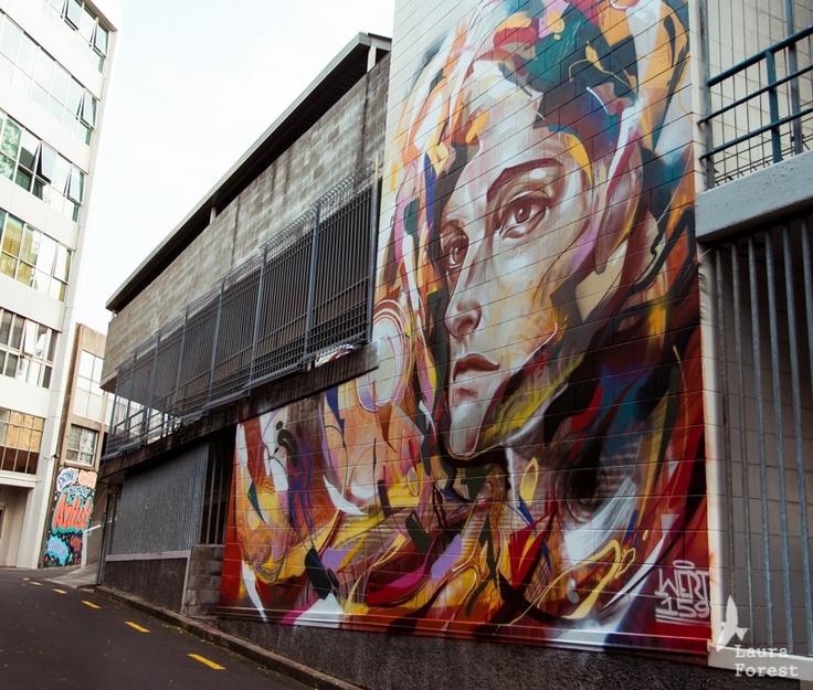 Wert159's mural on Samoa House Lane for All Fresco, a K Road Street Art Festival.  www.allfresco.co.nz  http://wert159.com/