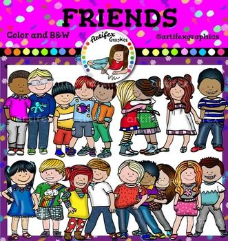 Friends Clip Art set features 16 items: 8 clip arts in color. 8 clip arts in black & white.All images are 300dpi, Png files.This clipart license allows for personal, educational, and commercial small business use. If using commercially, or in a freebie, credit to my store by a link is required and appreciated.