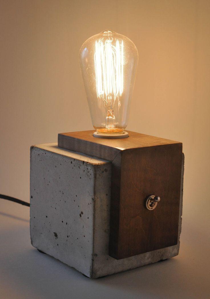 Handmade Concrete & Wood Cube Lamp #ConcreteLamp
