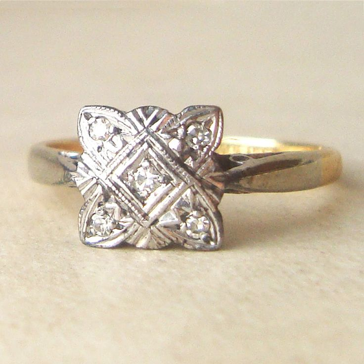 Square Art Deco Diamond Engagement Ring, Antique Diamond Platinum And 18k  Gold Wedding Ring Approximate Size US 5.25