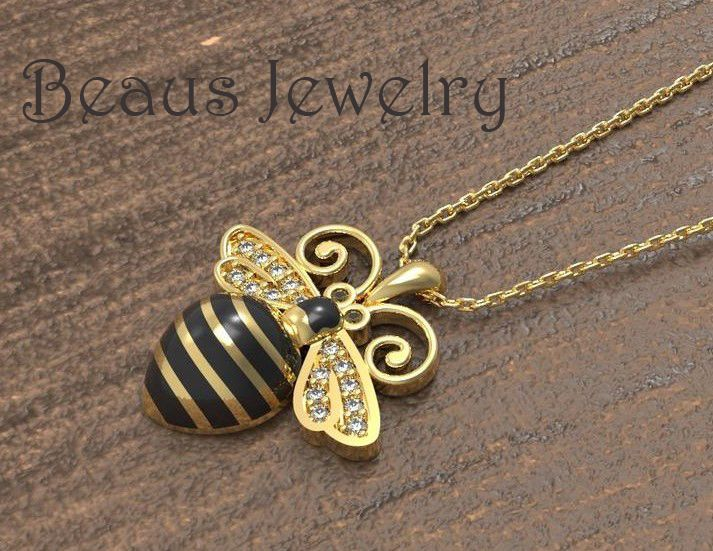 Bee Pendant Gold Bee Pendant Necklace 2020