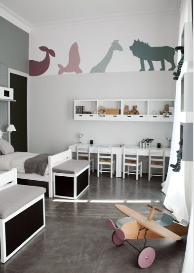 Gray color scheme and love the animal silhouettes.