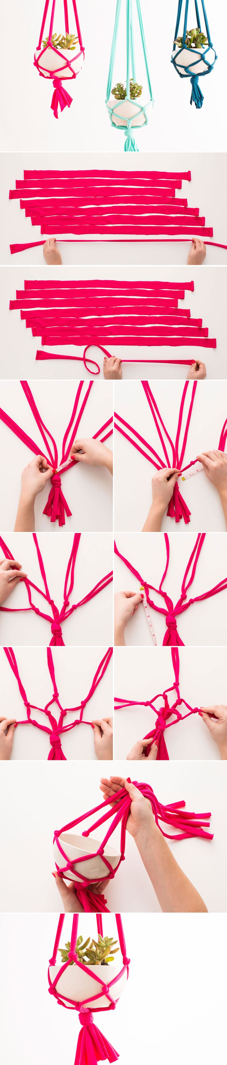 DIY your own macrame hanging vase with this tutorial. Jersey cut & stretched into tubes.