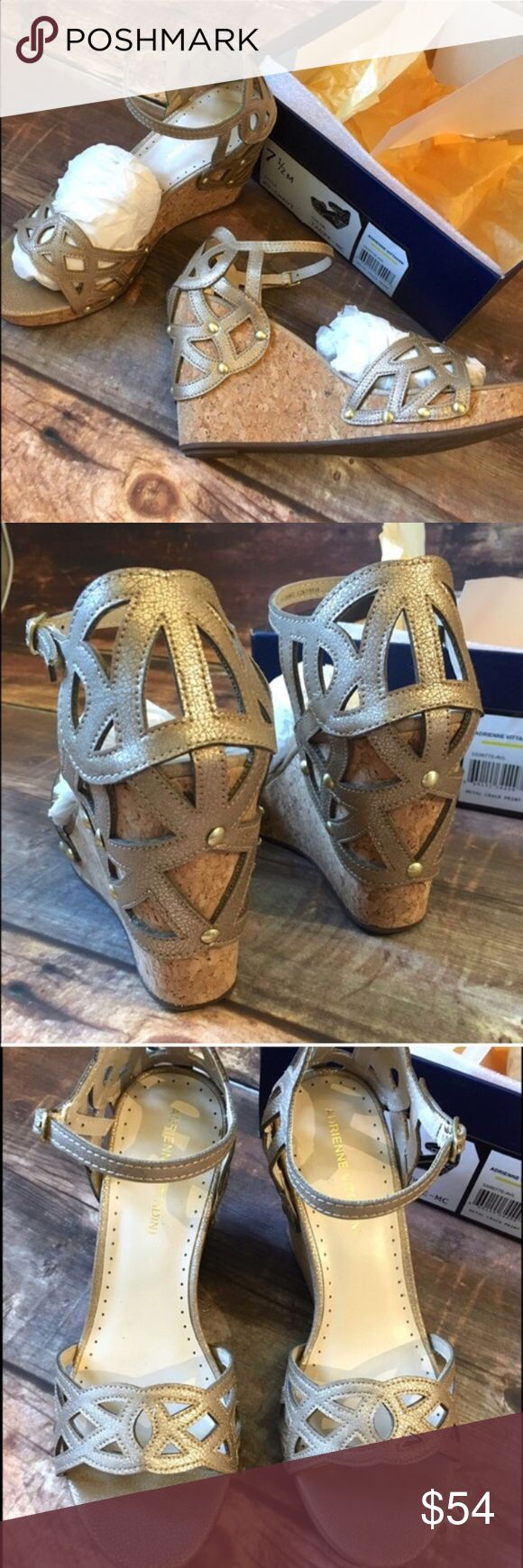 NWT Adrienne Vittadini cutout platform wedge sanda Gorgeous!! New in Box cork platform wedges with a very pretty cut out design. Leather upper. Add this to a bundle to save 15%. Adrienne Vittadini Shoes Wedges