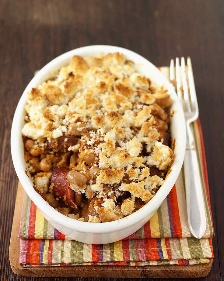 Sausage and Bean Casserole | Martha Stewart Living - This is not your basic pork and beans but a quick version of a classic French dish.