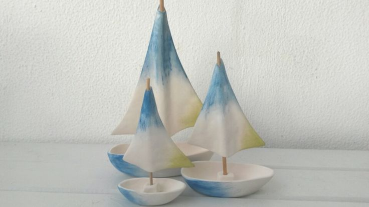 RESERVED Blue Aegean Sea Set of Three Handmade Ceramic Sailboats in Mediterranean Ocean Beach Style by WillyaCollection on Etsy