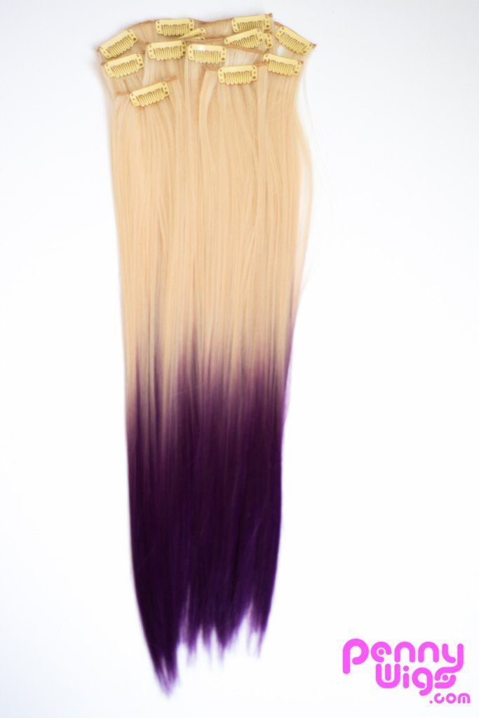 Ombr Blonde Purple Dip Dyed 7pcs Straight Clip In Hair Extensions