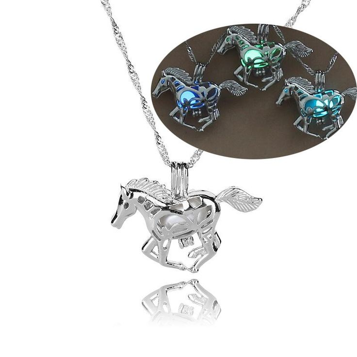 Luminous Hollow #Horse #Necklace GLOW in the DARK