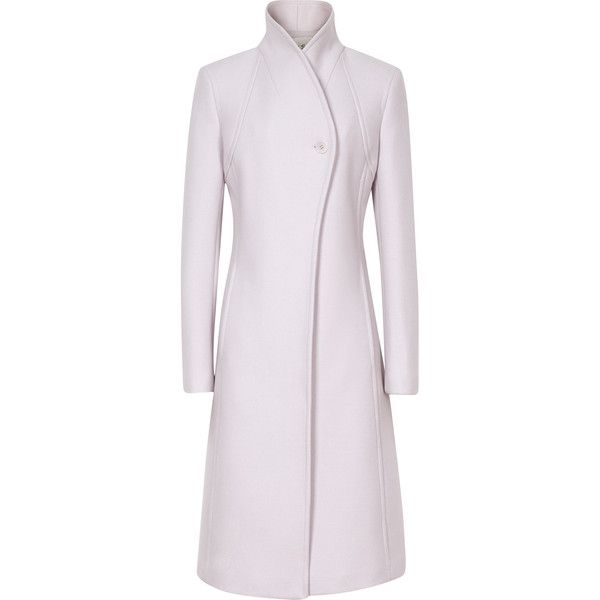 Reiss Emile Sharply Tailored Coat ($370) ❤ liked on Polyvore featuring outerwear, coats, lilac, tailored coat, reiss, stand collar coat, pink coat and reiss coat