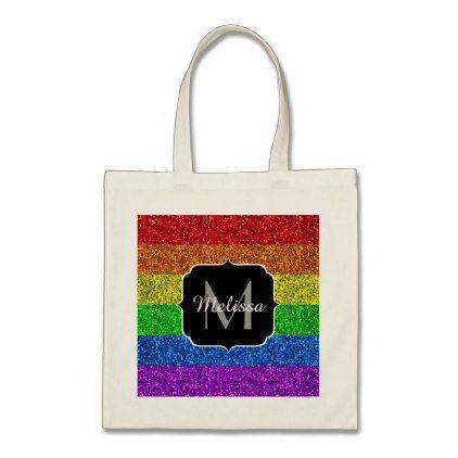 LGBT flag vibrant sparkles Monogram Tote Bag - glitter glamour brilliance sparkle design idea diy elegant