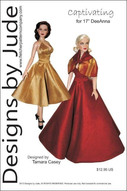"Captivating Doll Clothes Sewing Pattern 17"" Athletic Body De De & DeeAnna Tonner #DesignsbyJude"