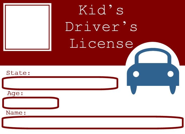 Blank Driver's License Template for kids | ... who want to be licensed drivers, printable driver's license for kids