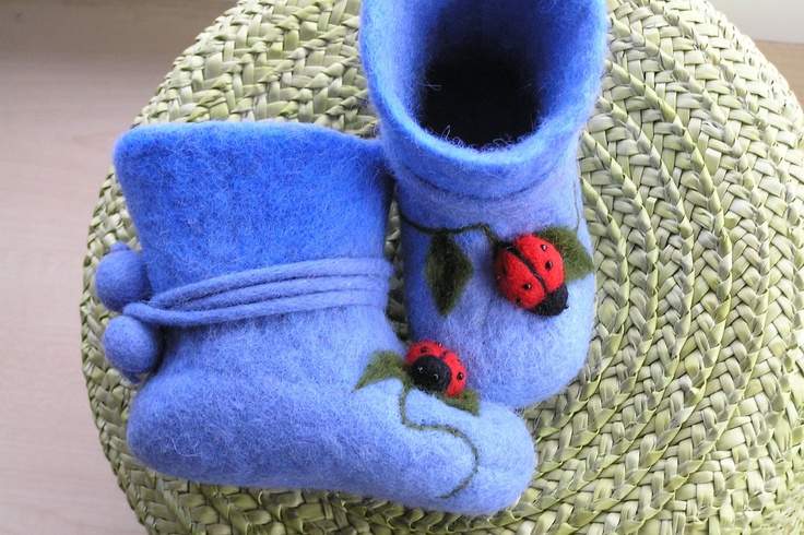 Handfelted  slippers/ home shoes  with lady-birds, on etsy