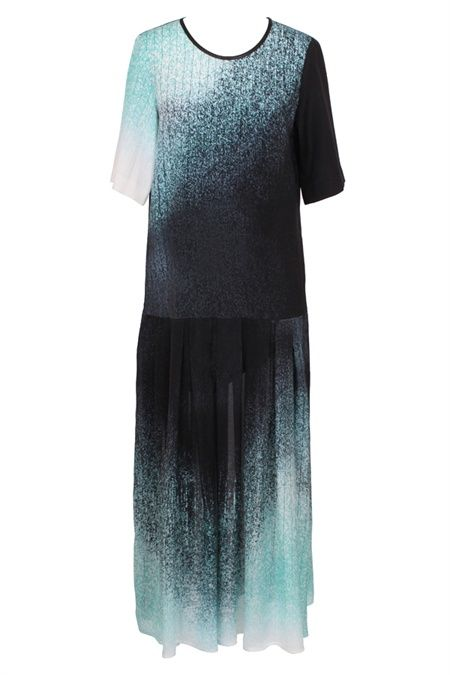 The lucid After glow print is inspired by the concept a dress dipped delicately in print. The fresh mint and white are illuminated against a deep charcoal textural base. This cool dropped waist dress has a relaxed appeal with a chic tee sleeve and leatherette neckband.  We love this effortless dress with a high wrapped boot and python black Sonic clutch. Work it with a black python Encase belt for a cinched in look. #GingerandSmart