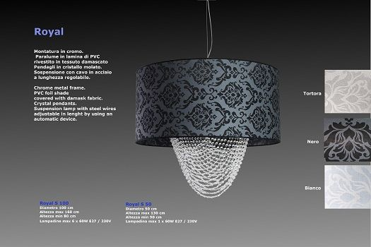 Basile design - ROYAL Sospensione in tessuto e cristallo personalizzabile sia nei colori che nelle grandezze e forme  SCHEDA TECNICA Dimensioni: D. 80 cm - H. max 160 cm - H. min 80 cm  Portalampade: max 6 x 60W E27