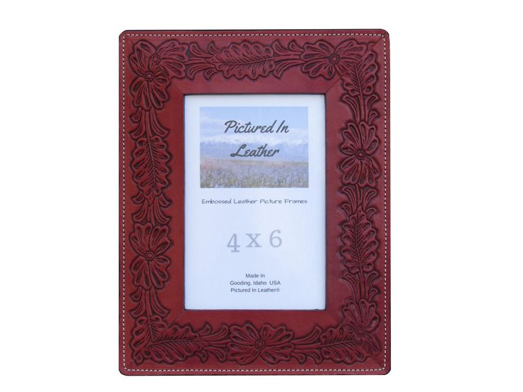 $48    4x6  Leather picture frame, embossed with a beautiful flower design. This gorgeous frame is the perfect way to display those cherished memories! Great Christmas gift, birthday gift or anniversary gift for women.