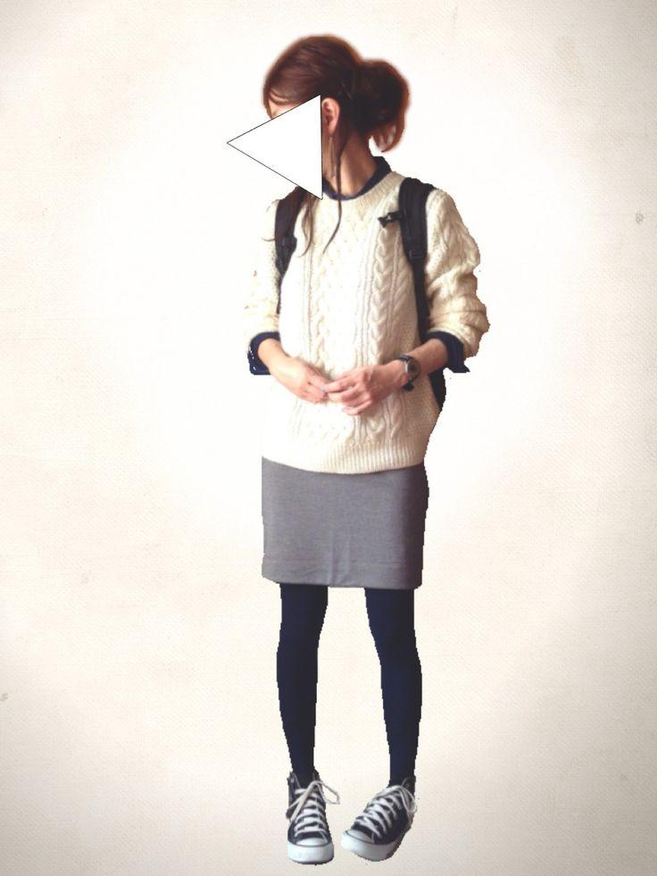 レキミさんのニット・セーター「UNIQLO ローゲージケーブルクルーネックセーター」を使ったコーディネート