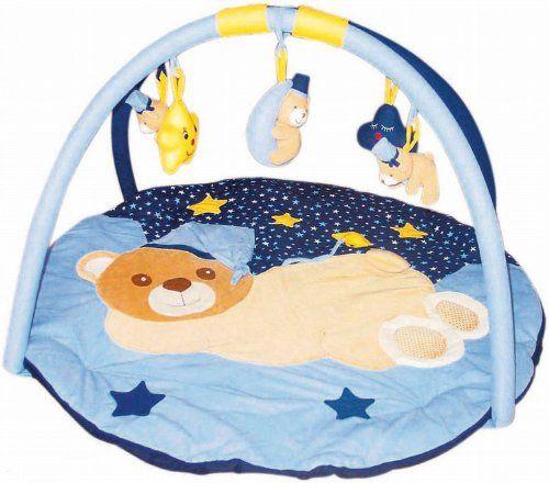#bebes Bieco 4003709 – Manta de actividades para bebé (90 cm), diseño de osito y cielo estrellado