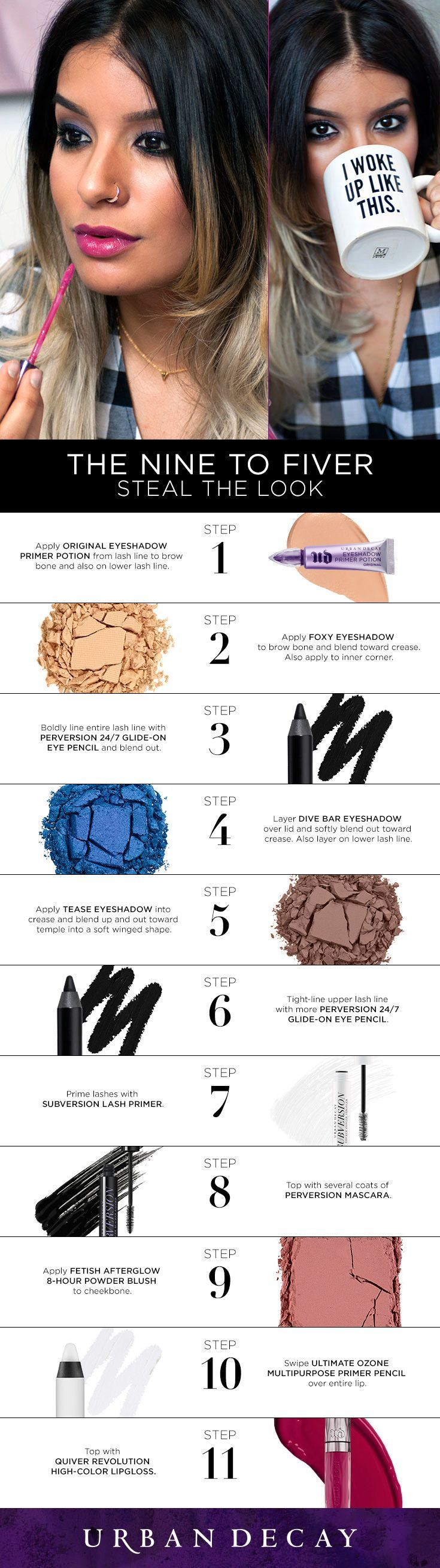 """The Nine to Fiver - """"My go to signature """"look"""" for the office is a smoky eye with a pop of color. I love layering Dive Bar with Perversion 24/7 Eye Pencil, which transforms the color to an amazing violet shift (and looks incredible against a tan)."""""""