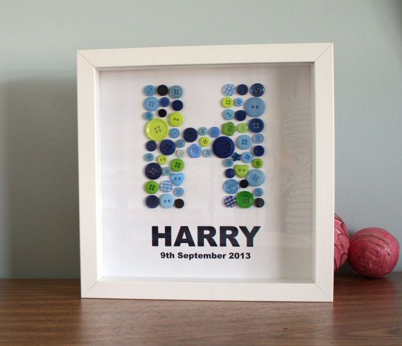Button Letter Wall Art Great Gift New born Custom by ColwellDesign, £16.99