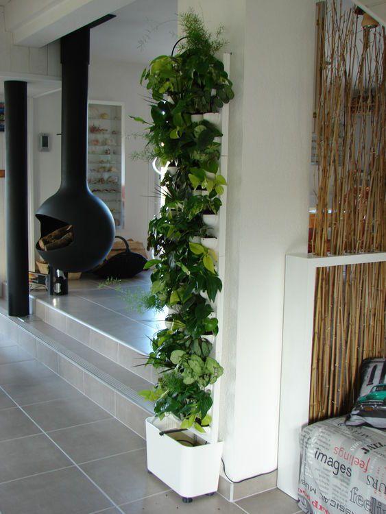 Mur végétal Flowall TOTEM blanc végétalisé
