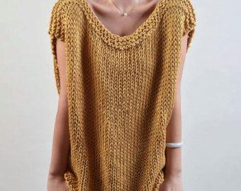Punto de la parte superior poco algodón poncho trigo por MaxMelody
