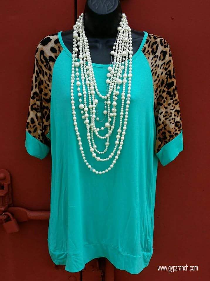 Valley Wild Turquoise & Leopard Top - Also in Plus Size