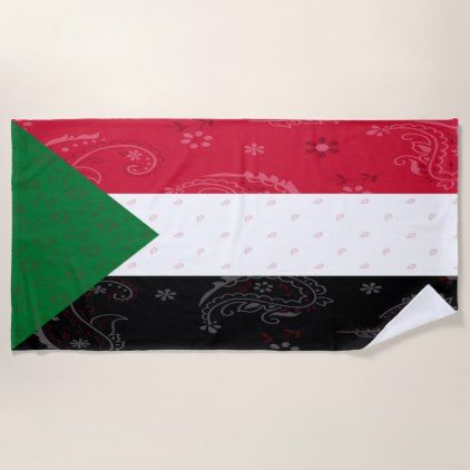 Sudan Flag Beach Towel - trendy gifts cool gift ideas customize