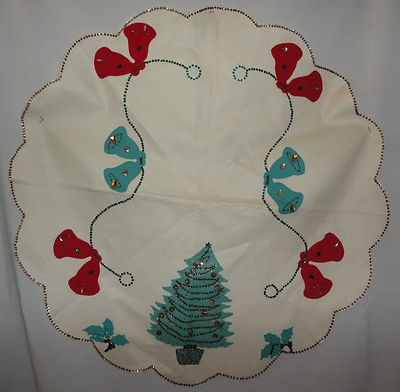 Vintage Christmas Tree Skirt ~ Handmade Felt Skirt w/ Sequins & Beads * Tree, Bells and Holly Design