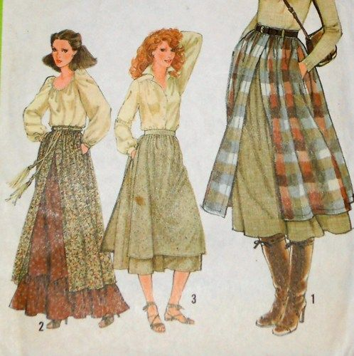 Vintage 70s Sewing Pattern - Boho Prairie Layered  Maxi Skirt. Retro Romantic. Ruffles. Apron Overlay.  Simplicity 8751; c. 1978.  W 25  Condition: This pattern is uncut, in its original factory folds