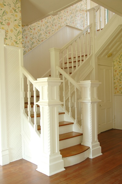 The Most Beautiful Staircase Ever! Love The Wallpaper!