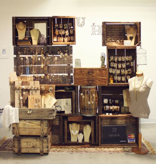 vintage jewelry display with crates