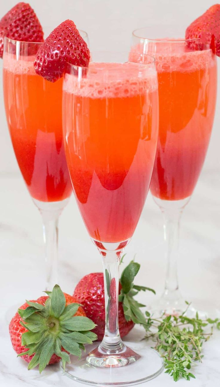 Fresh Strawberry Thyme Bellini Recipe Fresh Strawberry Thyme Simple Syrup Spring Dishes