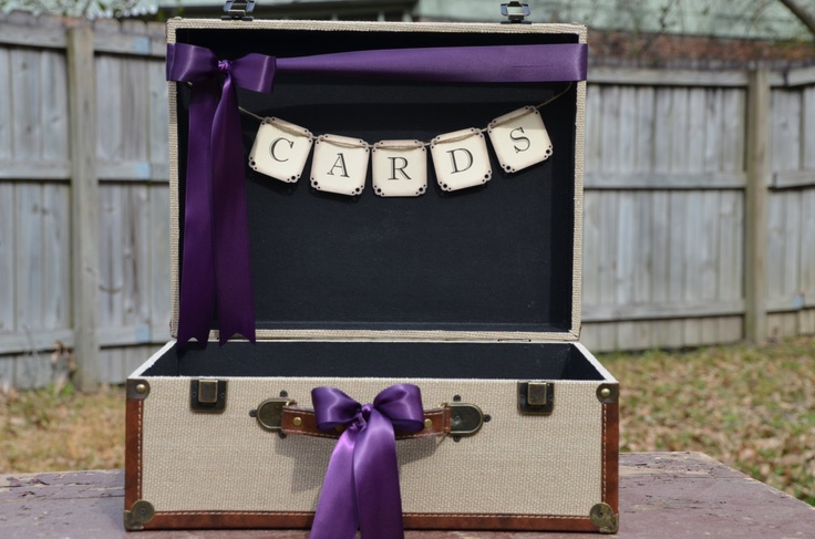 Rustic Burlap Suitcase Card Box, Eggplant Wedding Card Holder, Cards Banner. $70.00, via Etsy.